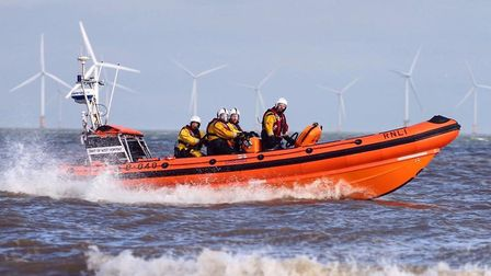 Hunstanton lifeboat was called to help a kitesurfer in difficulty. Picture: RNLI