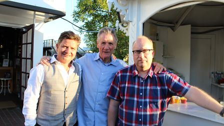 L-R The Riverside owner Stuart Sanders, Michael Palin and Film Feast founder Neil McGlone at the lau
