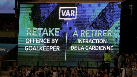 Farcical... the VAR screen shows that Argentina have a retake of their penalty after an offence by S