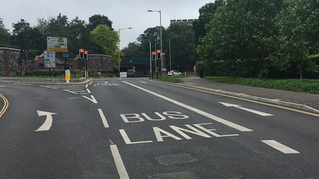 The new bus lane leading to Market Avenue in Norwich. The entrance to Castle Mall car park can be se