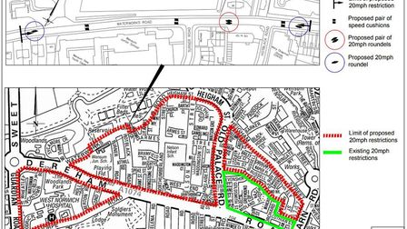 A map showing proposed areas for 20mph speed limits in the Dereham Road area of Norwich. Picture: Su