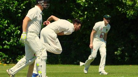 Great Witchingham's Norfolk allrounder Brett Stolworthy on his way to excellent figures of 8-4-8-5 P