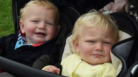 Twins 17-month -old William and Victoria Abba from the Lake District, ready to enjoy the Royal Norfo