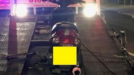 This motorbike was stopped on Pier Terrace in Lowestoft and subsequently seized for having no insura