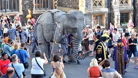 Giant elephant puppets parade through Norwich as part of Lord Mayor's Celebration weekend. Picture:
