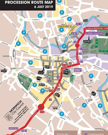 Lord Mayor's Procession map Credit: Norwich City Council