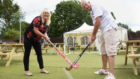 Philip Taylor, landlord, and Lynda Duckworth, converted the King's Head car park, in Loddon, into a hockey pitch beer garden.