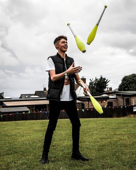 Amazing juggling skills from Tommy J at the Have a Field Day traditional fete in Hunstanton. Picture