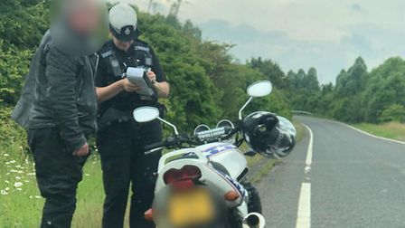 A motorbiker stopped doing 110mph on the A47 between King's lynn and Wisbech. Picture: Norfolk Polic