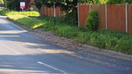 Waste from Banham Poulty chicken factry was spilled over Station Road in Attleborough. Photo: Submit