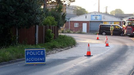 Station Road in Attleborough was closed for three hours following a lorry spill. Photo: Submitted
