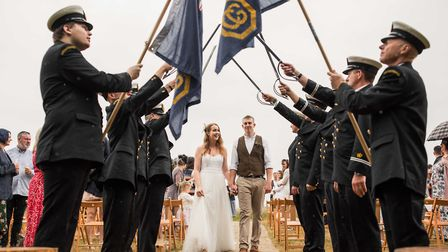 Marcus Taylor-Mills, 26, and Amelia, 28, exchanged their vows in a ceremony at Top Farm in Marsham w