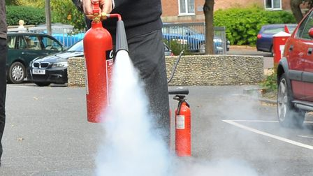 A fire extinguisher being set off. PHOTO BY SIMON FINLAY