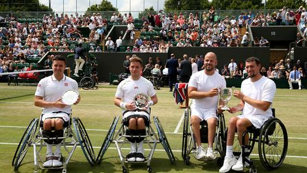 Joachim Gerard and Stefan Olsson following their victory over Gordon Reid and Alfie Hewett in the me