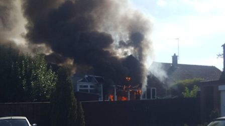 Fire crews are tackling a blaze at a bungalow in Fakenham. Picture: Gemma Grand