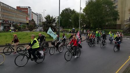 On Saturday Extinction Rebellion activists will stage a critical mass bike ride through Norwich . Ph