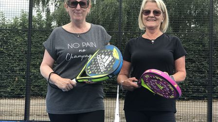 Sue Donaldson, 65 from Oakley and Isabel Wise, 71 from Bottesdale enjoyed a game of padel at the new