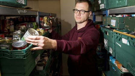 Ben Parish, who leads on the Lowestoft Foodbank, at the foodbank as it appeals for support with item
