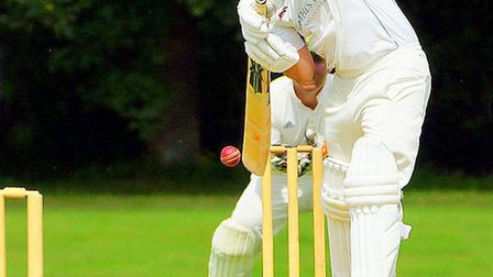 Peter Lambert on his way to a crucial innings of 81 for Swardeston against Bury St Edmunds Picture: