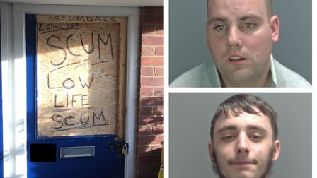 The door of the flat at Watson Grove and Steven Ward, top right, and Danny Button, bottom right. Pho