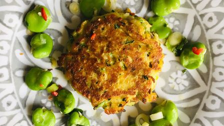 Courgette and halloumi kofta with warm broad bean salad Picture: Charlotte Smith-Jarvis