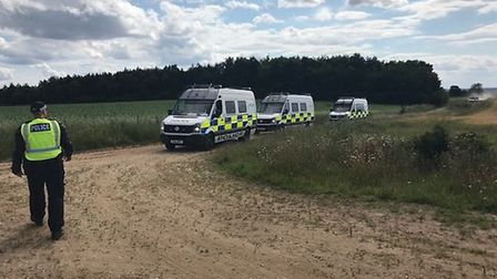 Police arrested five people and seized sound equipment after breaking up a rave in Grimston, west No