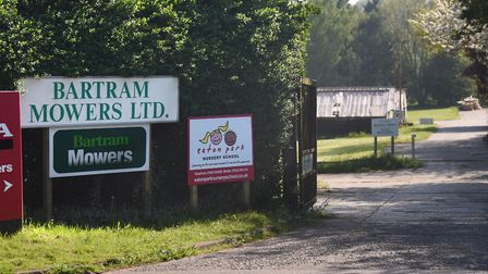 The entrance to Bartram Mowers, Bluebell Road, where around 60 houses could be built. Picture: DENIS