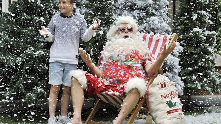 Nine-year-old Ollie Elvin, from Dussindale in Norwich, at a belated Christmas celebration put on by