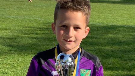Ollie Elvin, nine, from Dussindale, at the Tulip Trophy in Spalding, Lincolnshire, which he played i