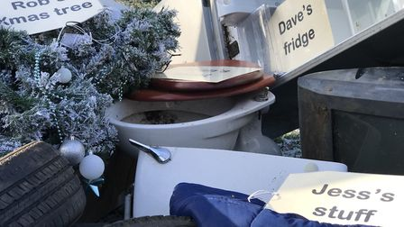 An example of the kind of waste being dumped on a regular basis across Norfolk at the launch of the