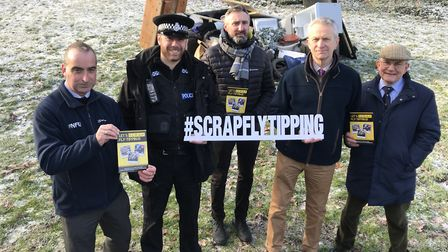 Flashabck to January and the launch of the SCRAP fly-tipping campaign. From L-R: Brian Finnerty, Pre