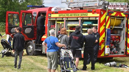 Suffolk Fire and Rescue at the annual Great Bungay Duck Race 2019. Picture: Jamie Honeywood