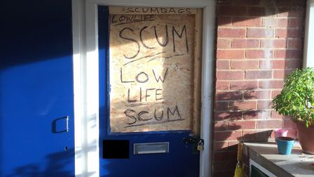 The door of the flat which was raided by police in Watson Grove. Photo: Submitted.