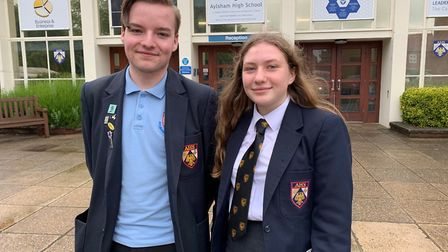 Ally Mitchell and Hannah Morton, both 15, are Aylsham High School's 'friendly face' captains. Pictu