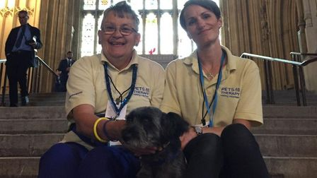 Carole Adam and Hannah Colbourn with Peggy the dog at Westminster. Picture: Matthew Robinson
