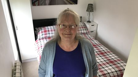 Linda Freeman inside the ex-rental trucky body which her son converted into a cosy AirBnB property i