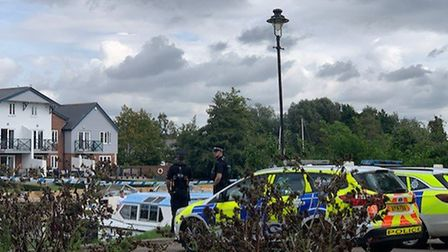 Police remain on scene at Loddon Staithe after an incident during the early hours of the morning. Ph