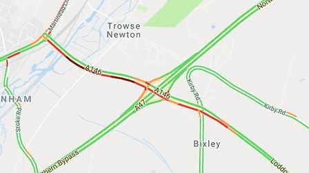 The Norwich-bound A146 is blocked after a crash. Photo: Live traffic map