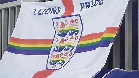 LGBTQ+ campaigner Di Cunningham proudly flew her 'Three Lions Proud' flag as she watched England bea