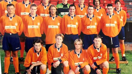 David Bloomfield (bottom row, second from right) was a midfielder with Diss Town FC before he was di
