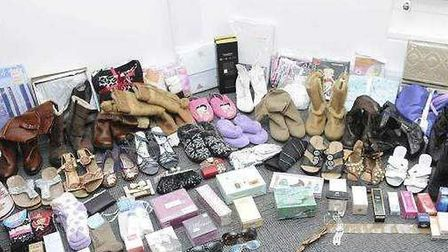 Some of the 1,337 items of clothing and accessories seized by police at Christine Carriages Bowthorp