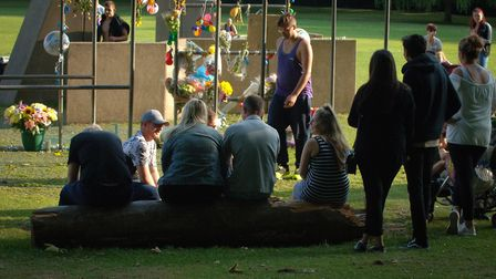 Reece Hornibrook's family and friends join in a moment of reflection in his memory. Picture: Chris B