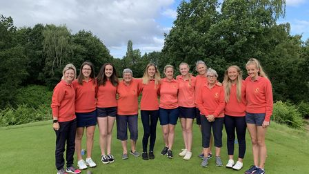 Norfolk Ladies' County Week squad line up for a team picture at Aspley Guise with captain Sue Heeles