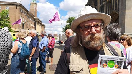 Mick Hardy is one of many protesting against tv license cuts to the over 75. Mick is part of lcoal g
