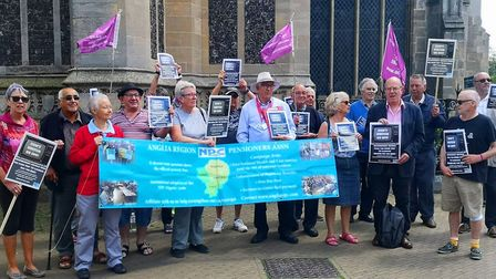 Protesting against BBC decision to cut TV licenses for over 75's Photo: Brittany Creasey