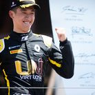 Guan Yu Zhou celebrating his third place in the second of the FIA Formula 2 races at the Paul Ricard