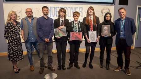All the winners with event organisers at the Undercover Readers celebration event at the University