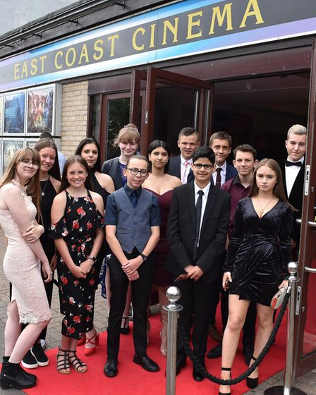 Ormiston Denes Academy students in Lowestoft on the red carpet at East Coast Cinema for the general