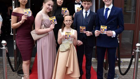 Ormiston Denes Academy students in Lowestoft on the red carpet at East Coast Cinema in town for the