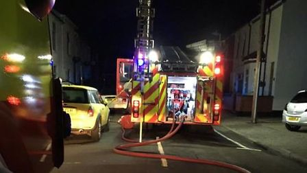 Police and firefighters were called to the scene just after 12am. Picture: Lowestoft South Fire Stat